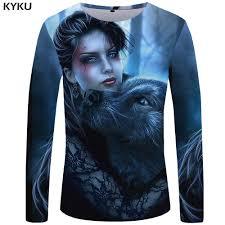<b>KYKU Wolf T</b> Shirt Men Long Sleeve Shirt Beauty Streetwear Animal ...
