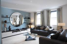 For Floating Shelves In Living Room Living Room Oversized Round Wall Mirror With Floating Shelves