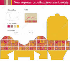 vector template for present box blue azulejos ceramic models vector vector template for present box blue azulejos ceramic models