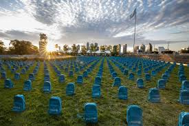 3,758 <b>school backpacks</b> laid at the United Nations show the grave ...