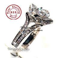 <b>S925 Luxury</b> Cluster Setting Pure Sterling Silver Handmade <b>Circular</b> ...