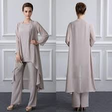Three Pieces Elegant <b>Gray Chiffon Mother Of</b> The Bride Pant Suits ...