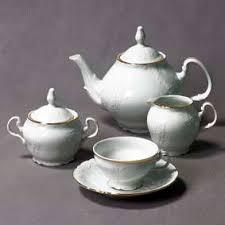 """<b>Чайный сервиз 6</b>/9; декор """"Отводка золото"""" - Чешские чайные ..."""