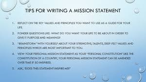the importance of work unit unit objectives you will create tips for writing a mission statement 1 reflect on the key values and principles you