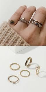 <b>Vintage</b> Metal <b>Geometric</b> Rings Set <b>Round</b> Star Hollow Rhinestone ...