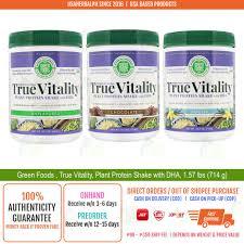 Green Foods , <b>True Vitality</b>, <b>Plant</b> Protein Shake with DHA, 1.57 lbs ...