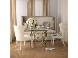 three piece dining set: bernhardt salon  piece dining set with round glass top table baers furniture dining  piece set