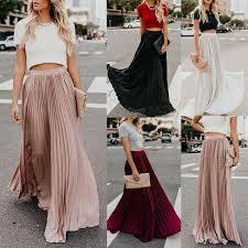 New <b>2019 Women Boho</b> Chiffon Long Maxi <b>Skirt Lady</b> Beach High ...