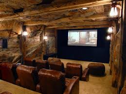 themed family rooms interior home theater: home theater basement awesome wood wall theme under mount wall speaker nice wall lamp small minimalist home theater room design exposed stone wall