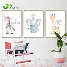 <b>Baby Room Posters Babykamer</b> Animal Painting Wall Art Elephant ...