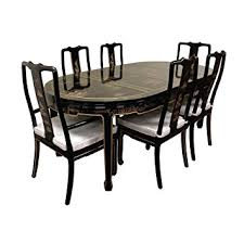 oriental furniture hand painted on black lacquer dining table w 6 chairs amazoncom oriental furniture rosewood korean tea table