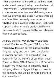 twentyfour it twentyfourit twitter doncaster s leading it managed service provider twentyfourit services complete a successful acquisition of local competitor anewsolutionspic twitter com