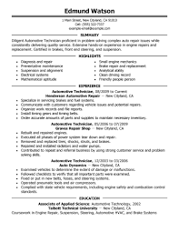 automotive resume examples automotive sample resumes livecareer automotive technician resume example