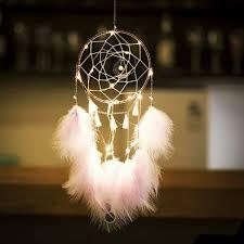 XiaoMtou Pink Feather Dream Catcher LED Fairy ... - Amazon.com