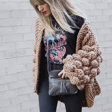 Hand Knitted <b>Crochet Sweater Cardigan 3D</b> Floral Hook <b>Coarse</b> ...
