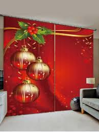 [37% OFF] 2 Panels <b>Christmas Balls Berry Print</b> Window Curtains ...