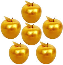 <b>6 Pcs</b> Golden Apples Artificial Golden Fruit Crafts Gold Apples for ...