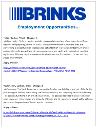 brinks is hiring now alderman jason c ervin work experiences and cultures work hand in hand to support common objectives together we celebrate the accomplishments of our people our company and