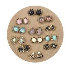 Luxury Retro Geometric Waterdrop Crystal <b>Resin</b> Stud Earrings 12 ...