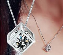 <b>Jewelry Women</b> Fashion <b>925</b> Silver Love Cube Necklace Pendant ...