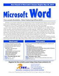 rtec dates slated for word and excel classes in