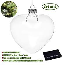 Sparkle Style 6 X Hanging Clear Heart Shape Glass ... - Amazon.com