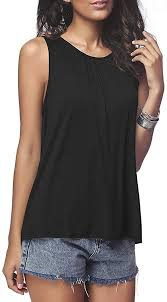 Gognia <b>Women's Summer</b> Sleeveless Pleated Front Casual Shirt ...