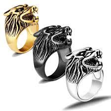 Steel <b>Wolf's Head Ring</b> - Fanduco
