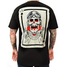 <b>Men's Death from Above</b> by Cormack Lowbrow Art Skull Tattoo T Shirt