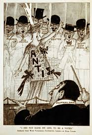 women s suffrage in the united states a chorus of disreputable men supports an anti suffrage w in this 1915 cartoon from puck magazine the caption i did not raise my girl to be a voter