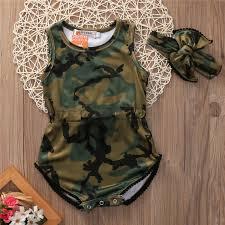 2017 <b>Newborn Baby</b> Girls <b>Army</b> Green Bodysuit+Headband Camo ...