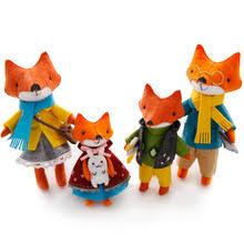 lovely fox families felt diy craft kit doll handmade sewing cloth toys for children gift key ring pendant package