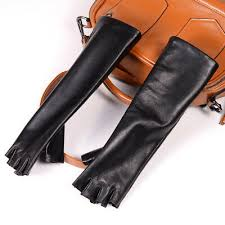 Women's <b>Real leather Semi</b>-<b>finger</b> fingerless party evening opera ...