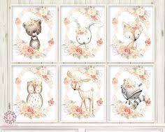 <b>Deer</b> Fox <b>Bunny Rabbit Bear</b> Wall Art Print Nursery Boho Woodland ...