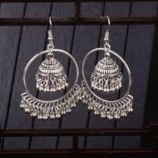 <b>TopHanqi Indian Jhumka Jewelry</b> Sliver Small Bells Drop Tassel ...