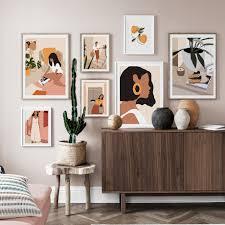 <b>Abstract</b> Fashion Vintage <b>Girl</b> Minimalist Wall Art <b>Canvas Painting</b> ...