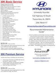 Hyundai Maintenance Schedule University Hyundai Of Tuscumbia New Hyundai Dealership In