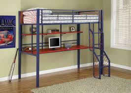 blue polished metal bunk bed with fancy stair and red lacquer acrylic desk under floating open bunk beds kids loft