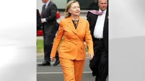 Image result for hillary clinton orange pantsuit