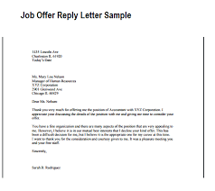 job offer reply letter   writing professional letters