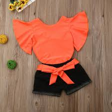 Online Shop <b>2019</b> New <b>Summer Toddler Girl</b> Kid Clothes Sets Solid ...