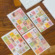 4 Sheets/<b>lot</b> Kawaii Cartoon Korea <b>Vintage</b> Francoise Stamp Flakes ...