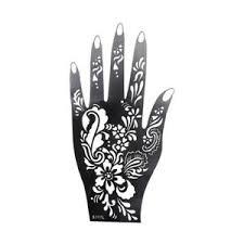1X(<b>1Pcs Henna Hand Stencil</b> Flower Glitter Airbrush Mehndi Henna ...
