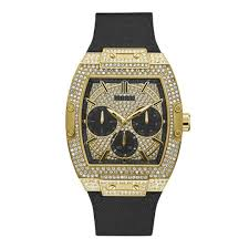 Guess Pheonix Gold Tone & Black <b>Genuine Leather Silicone Watch</b> ...