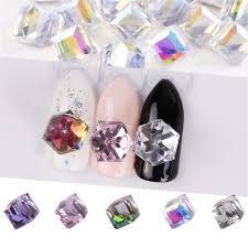 <b>10Pc</b> Nail Art <b>Crystal</b> Rhinestones Cube Square <b>3D</b> DIY Diamond ...