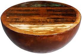 vidaXL <b>Coffee Table Bowl</b>-<b>shaped</b> with Steel Base Solid Reclaimed ...