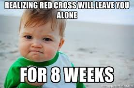 Realizing Red Cross will leave you alone For 8 weeks - fist pump ... via Relatably.com