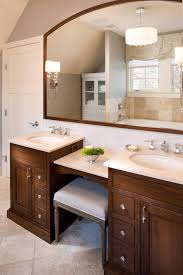 small bathroom chandelier crystal ideas: small bathroom vanity ideas bathroom traditional with arced mirror bench dual