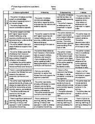 Common Core Argumentative Writing Rubric  th Grade     th grade     Example narrative essay introduction   FC
