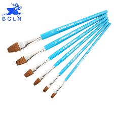 <b>Bgln 6Pcs Weasel Hair</b> Flat Watercolor Paint Brush Set Hand ...